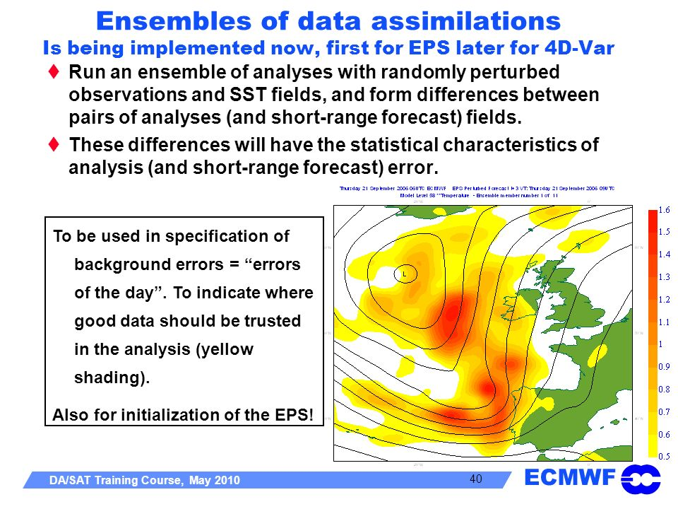 Ensembles of data assimilations Is being implemented now, first for EPS later for 4D-Var
