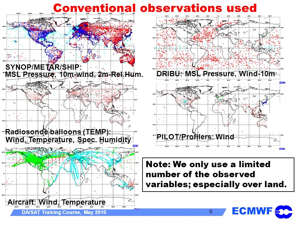 Conventional observations used