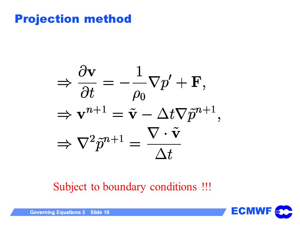 Projection method Subject to boundary conditions !!!