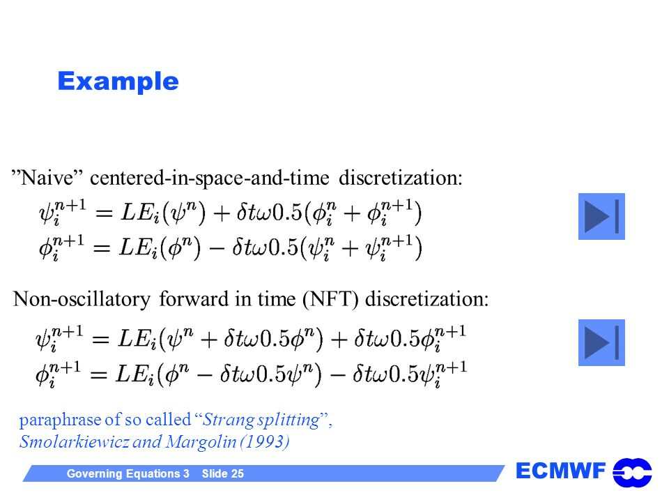 Example Naive centered-in-space-and-time discretization:
