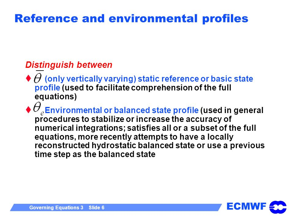 Reference and environmental profiles