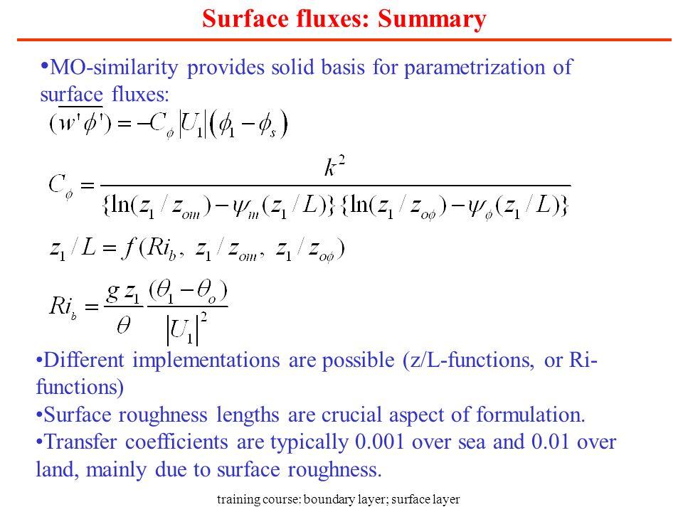 Surface fluxes: Summary