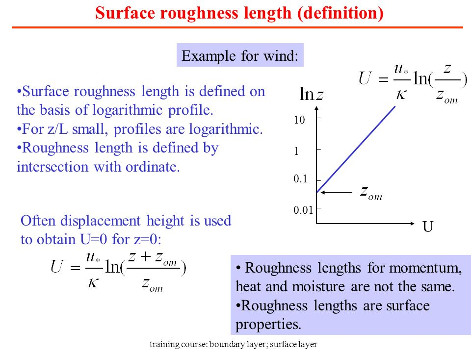 Surface roughness length (definition)