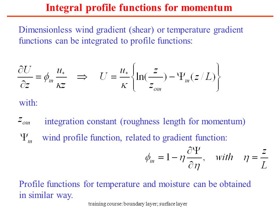Integral profile functions for momentum