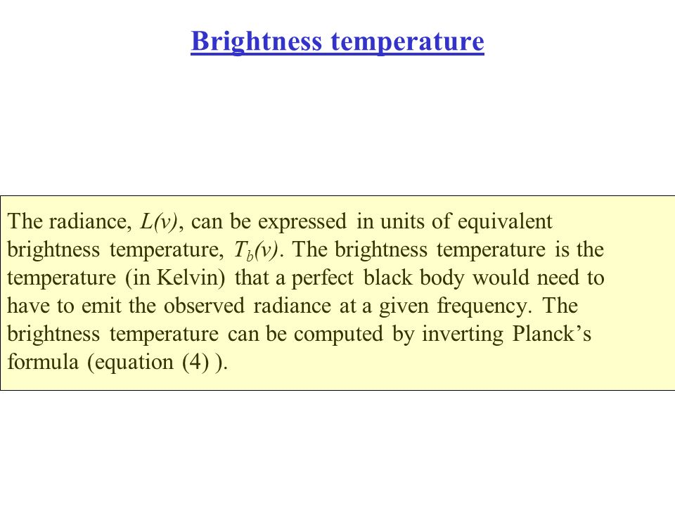 Brightness temperature