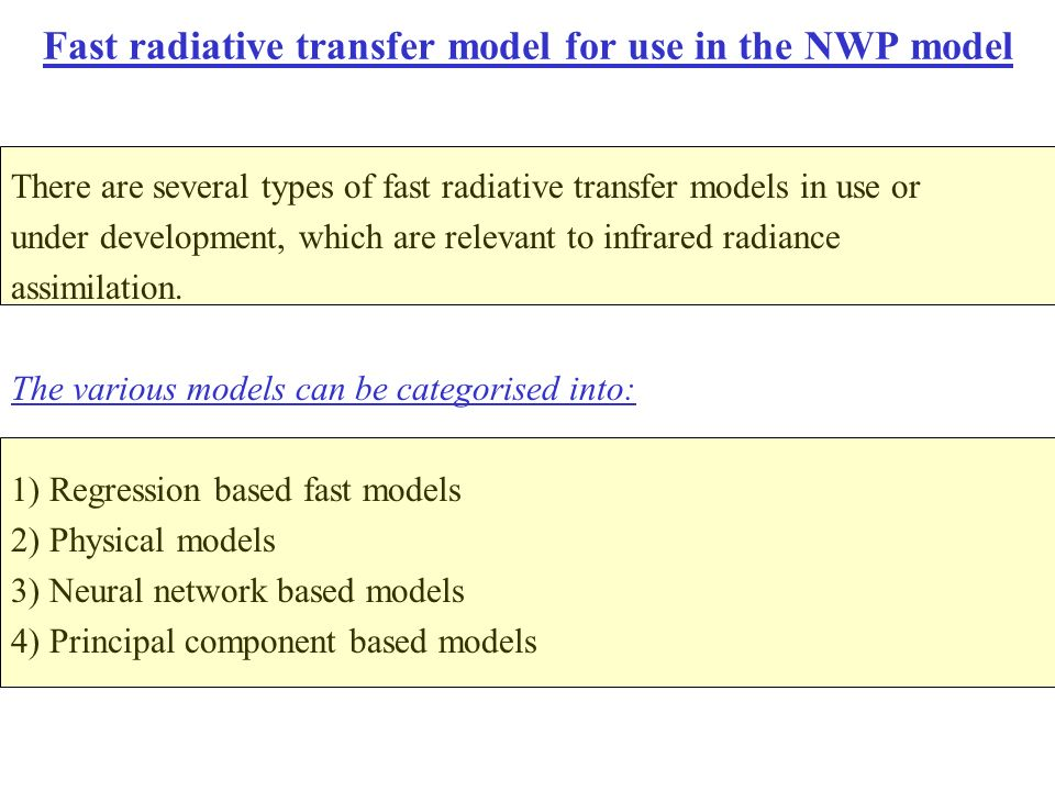 Fast radiative transfer model for use in the NWP model