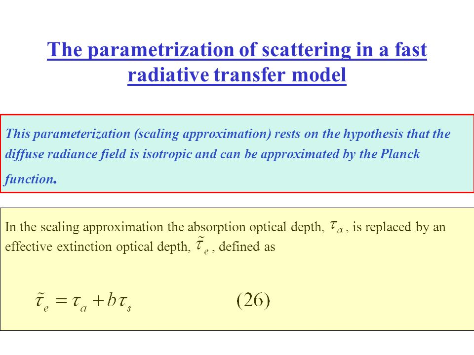 The parametrization of scattering in a fast radiative transfer model