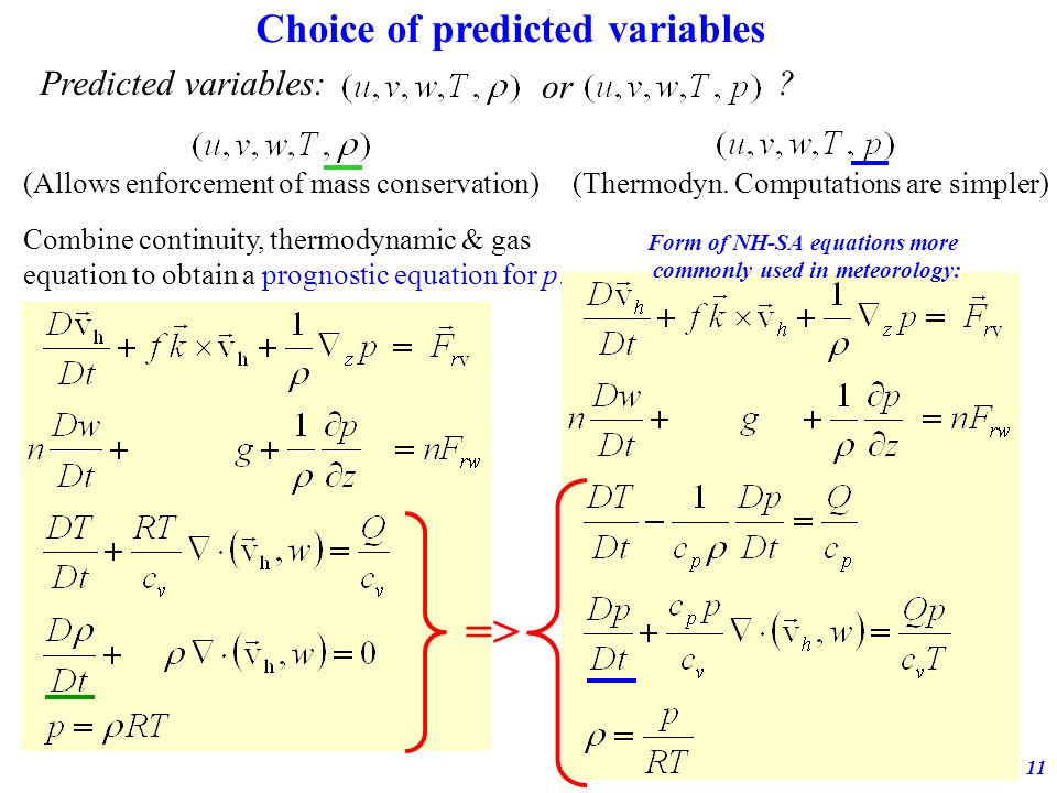 => Choice of predicted variables Predicted variables: or