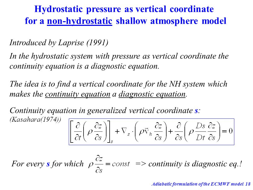 Hydrostatic pressure as vertical coordinate