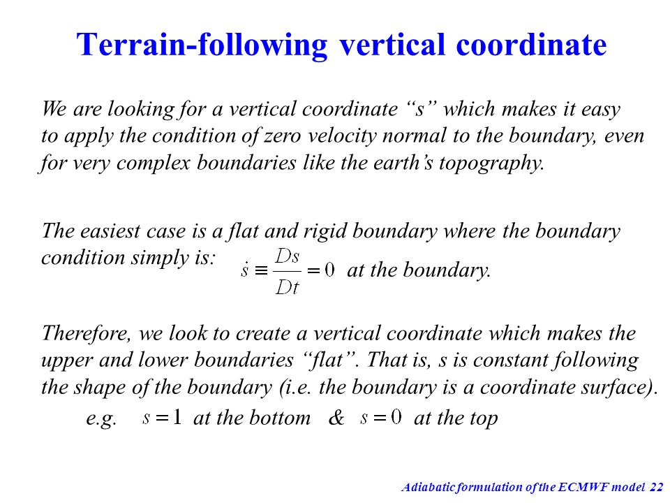 Terrain-following vertical coordinate