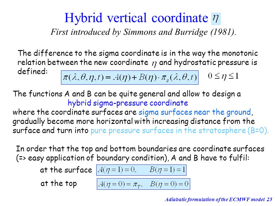 Hybrid vertical coordinate
