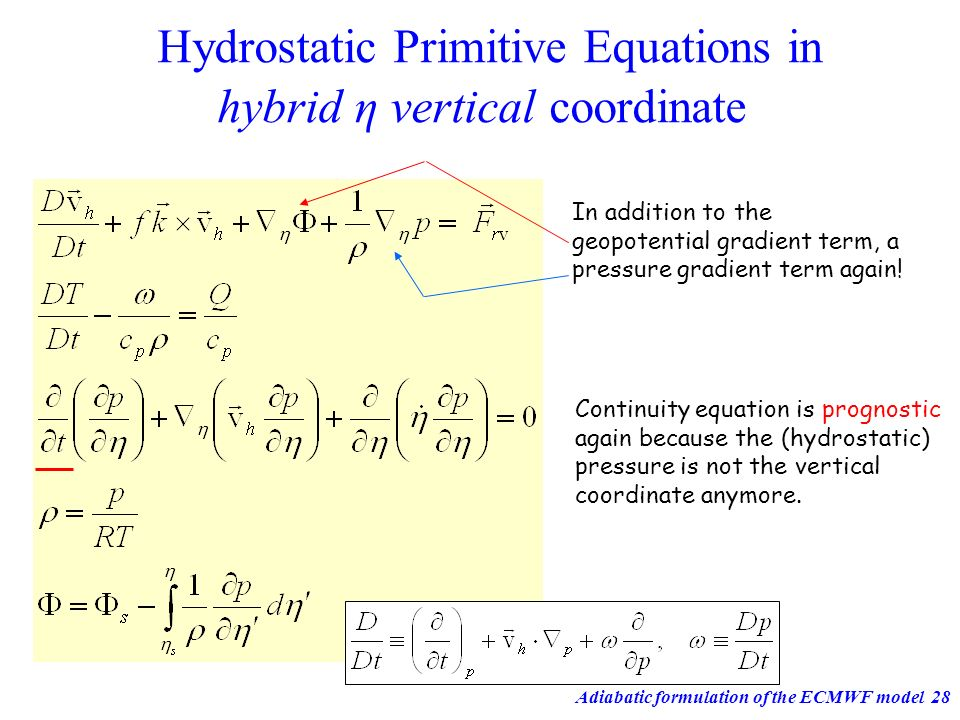 Hydrostatic Primitive Equations in hybrid η vertical coordinate