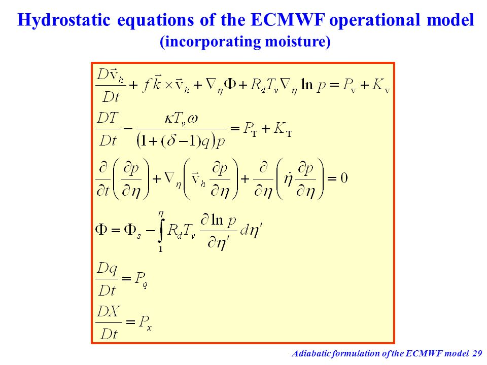Adiabatic formulation of the ECMWF model