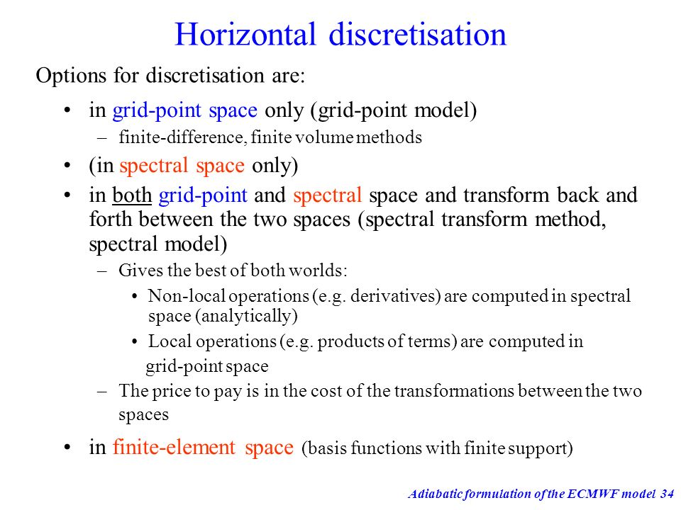 Horizontal discretisation
