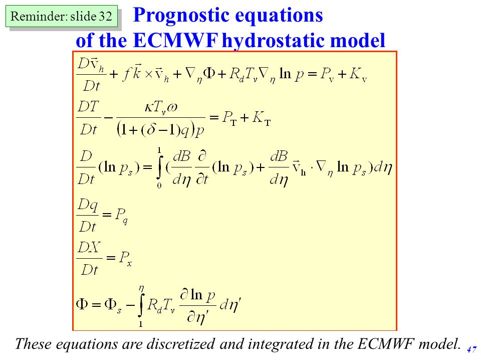 of the ECMWF hydrostatic model