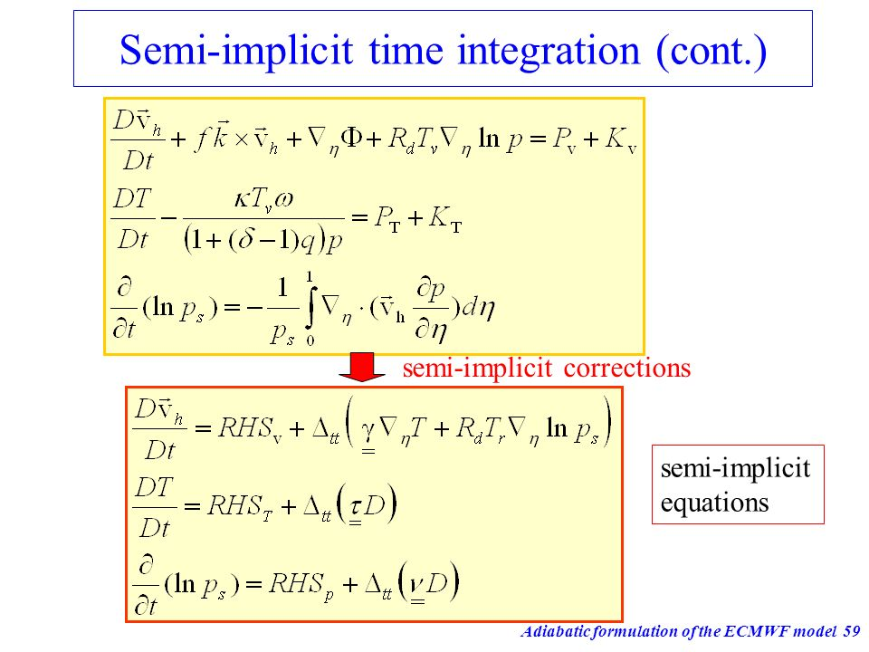 Semi-implicit time integration (cont.)