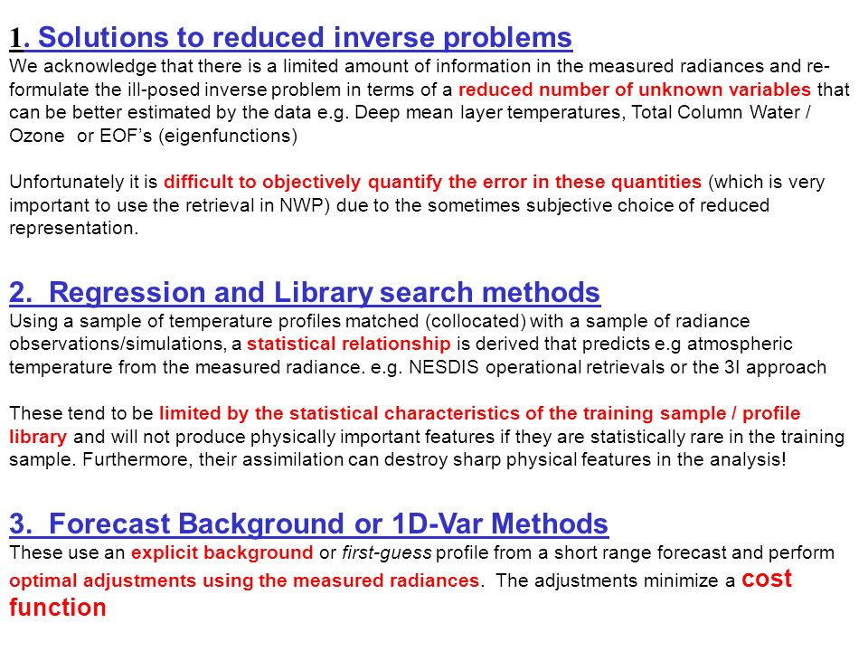 1. Solutions to reduced inverse problems
