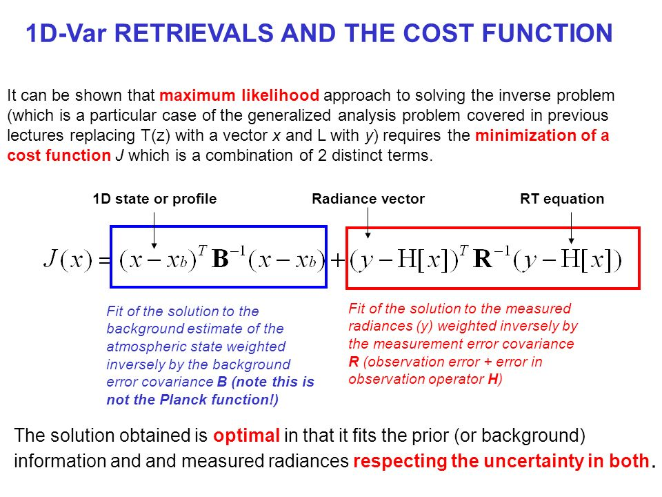 1D-Var RETRIEVALS AND THE COST FUNCTION