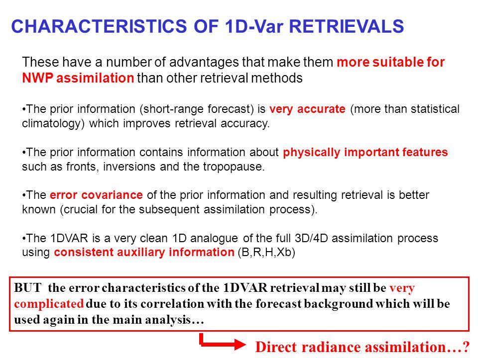 CHARACTERISTICS OF 1D-Var RETRIEVALS