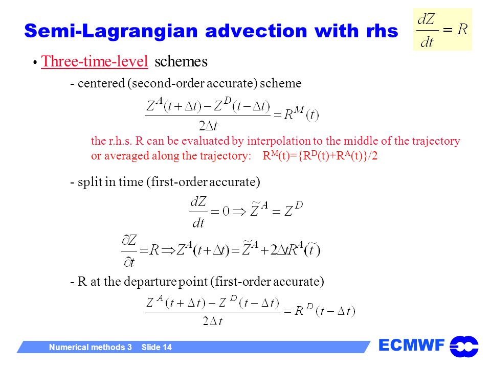 Semi-Lagrangian advection with rhs