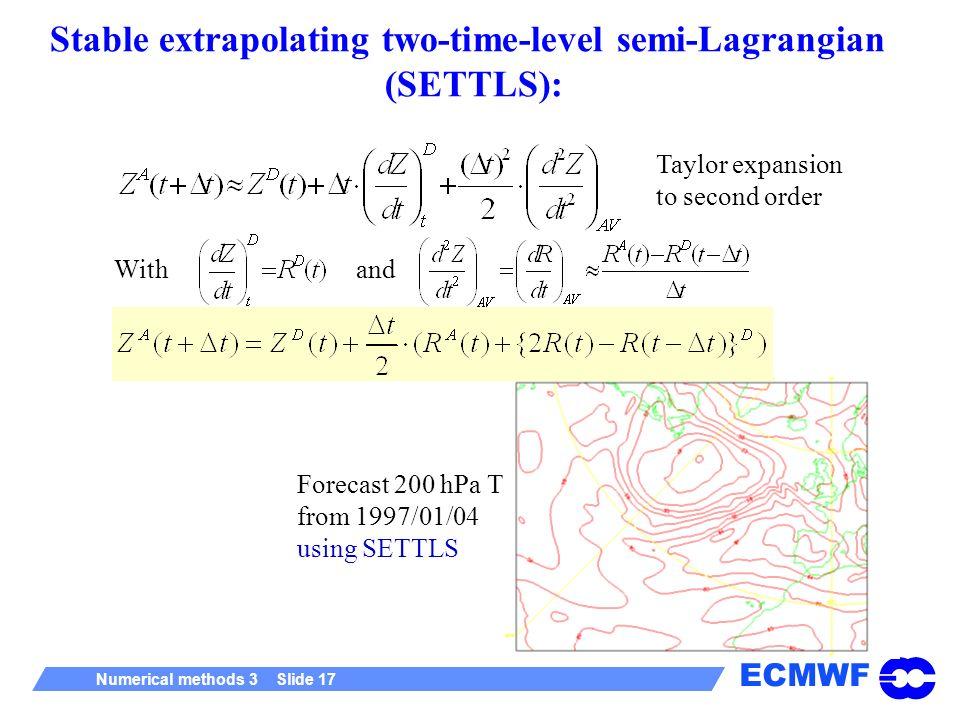 Stable extrapolating two-time-level semi-Lagrangian