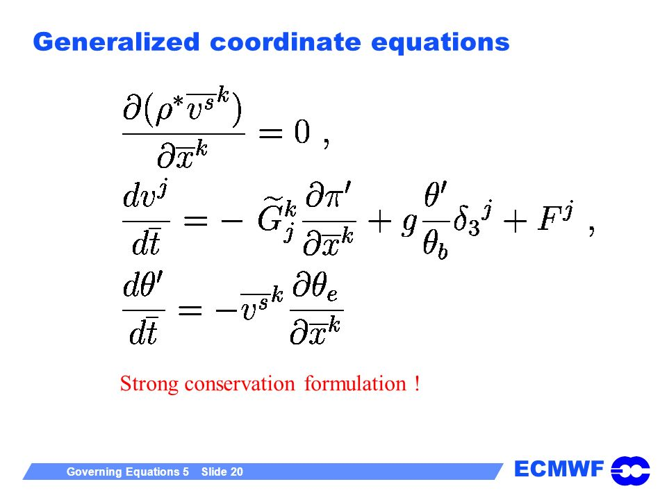 Generalized coordinate equations