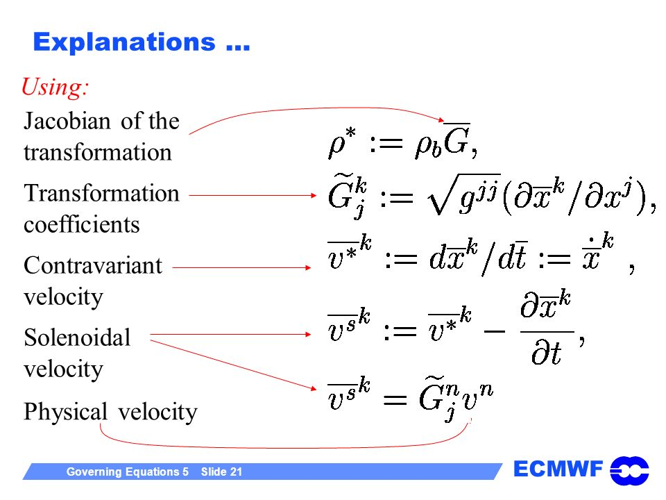 Explanations … Using: Jacobian of the. transformation. Transformation coefficients. Contravariant.