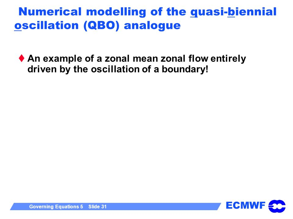 Numerical modelling of the quasi-biennial oscillation (QBO) analogue