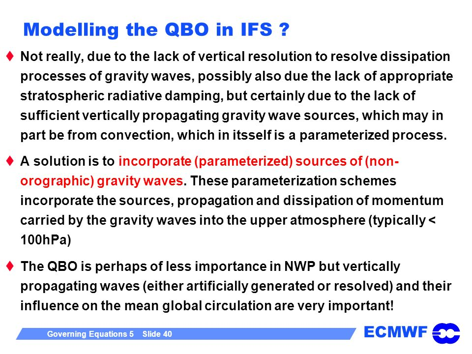 Modelling the QBO in IFS