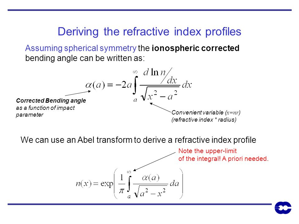 Deriving the refractive index profiles