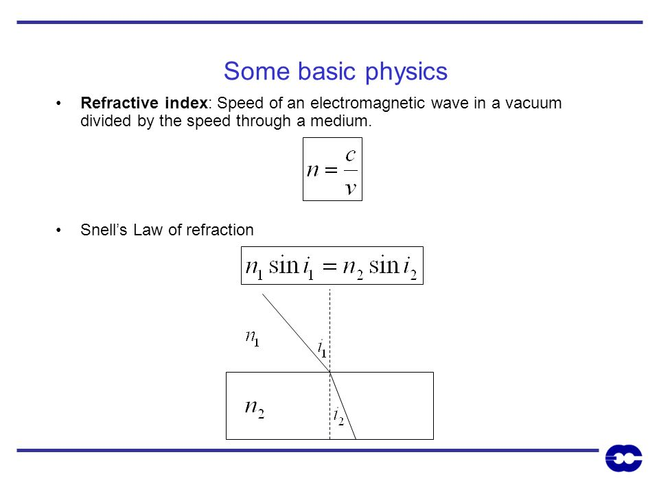 Some basic physics Refractive index: Speed of an electromagnetic wave in a vacuum divided by the speed through a medium.
