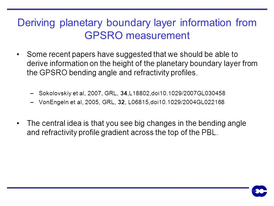 Deriving planetary boundary layer information from GPSRO measurement
