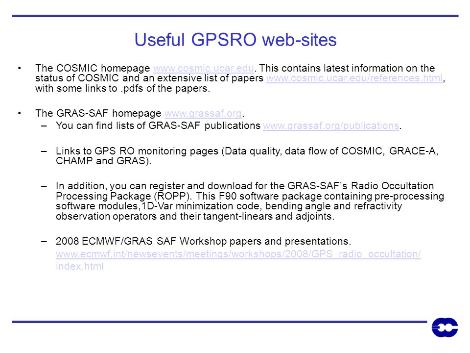 Useful GPSRO web-sites