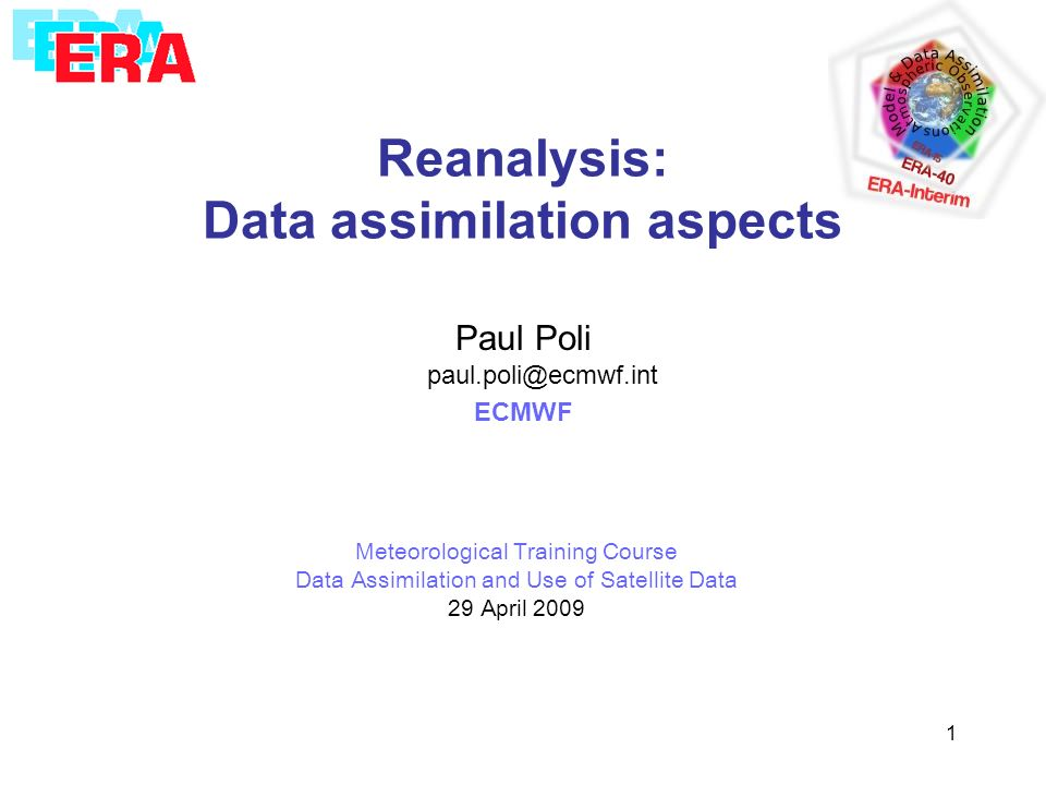 Reanalysis: Data assimilation aspects