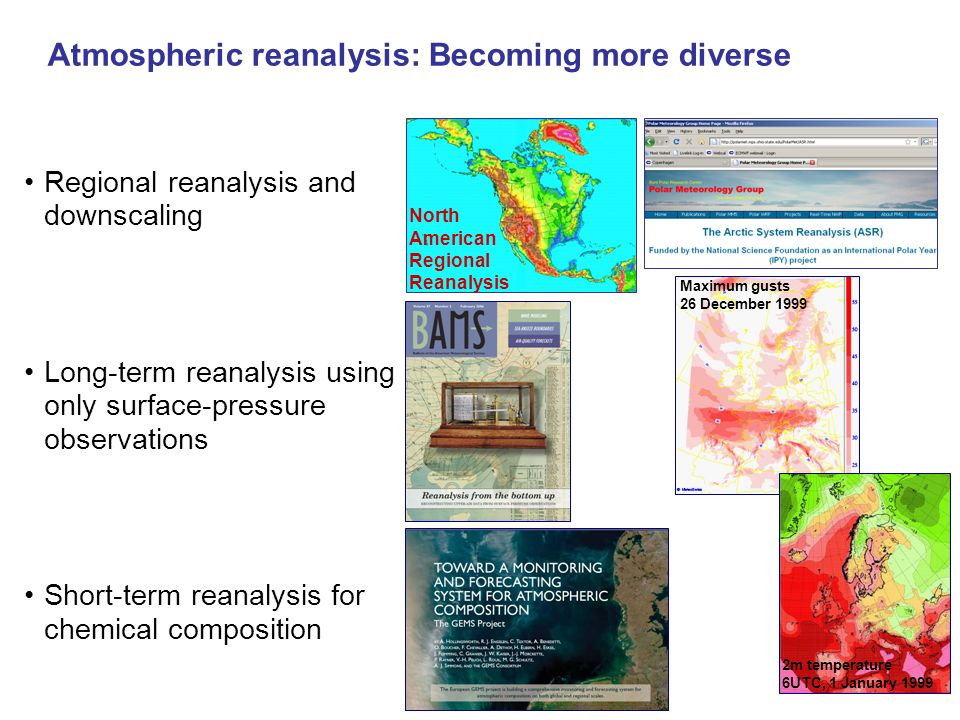 Atmospheric reanalysis: Becoming more diverse