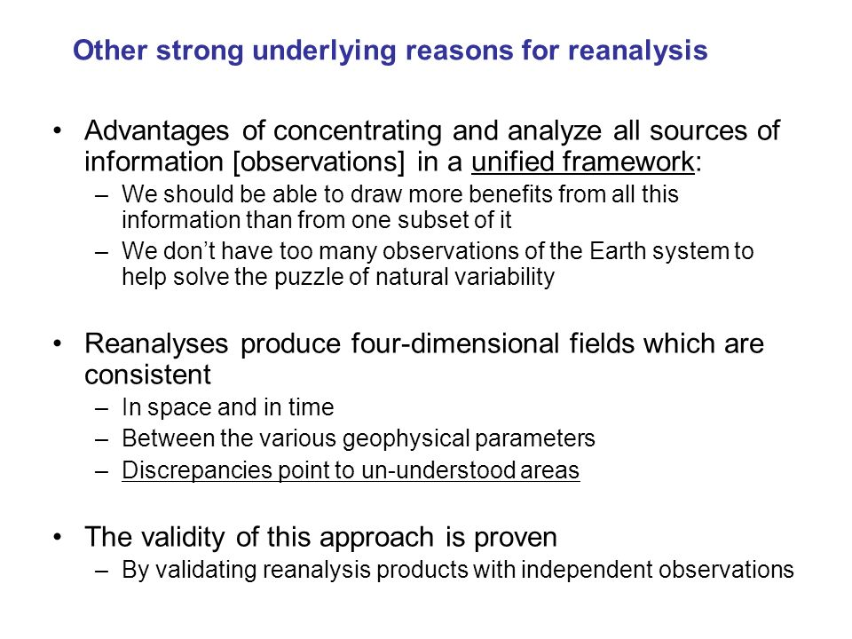 Other strong underlying reasons for reanalysis