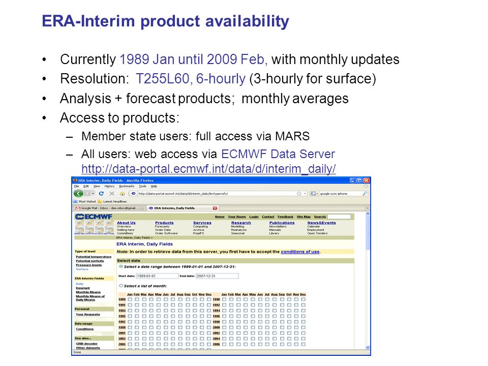 ERA-Interim product availability
