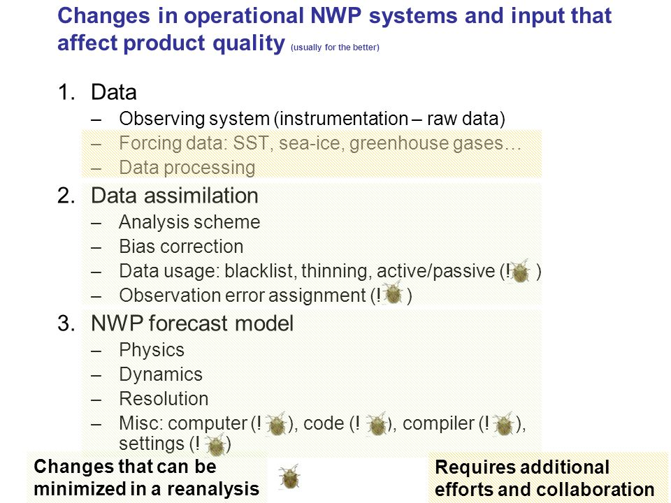 Changes in operational NWP systems and input that affect product quality (usually for the better)
