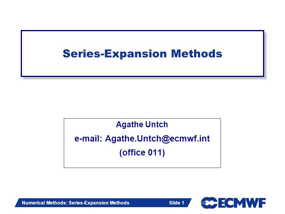 Series-Expansion Methods
