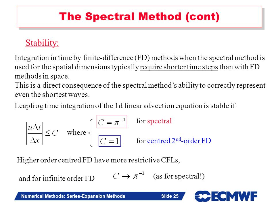 The Spectral Method (cont)