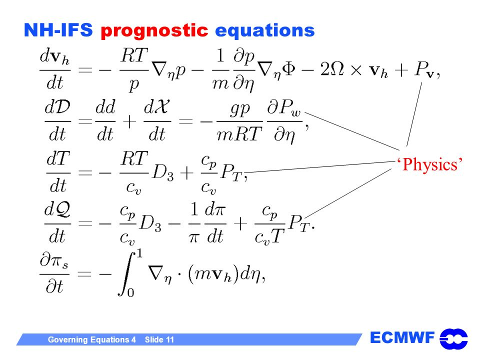 NH-IFS prognostic equations