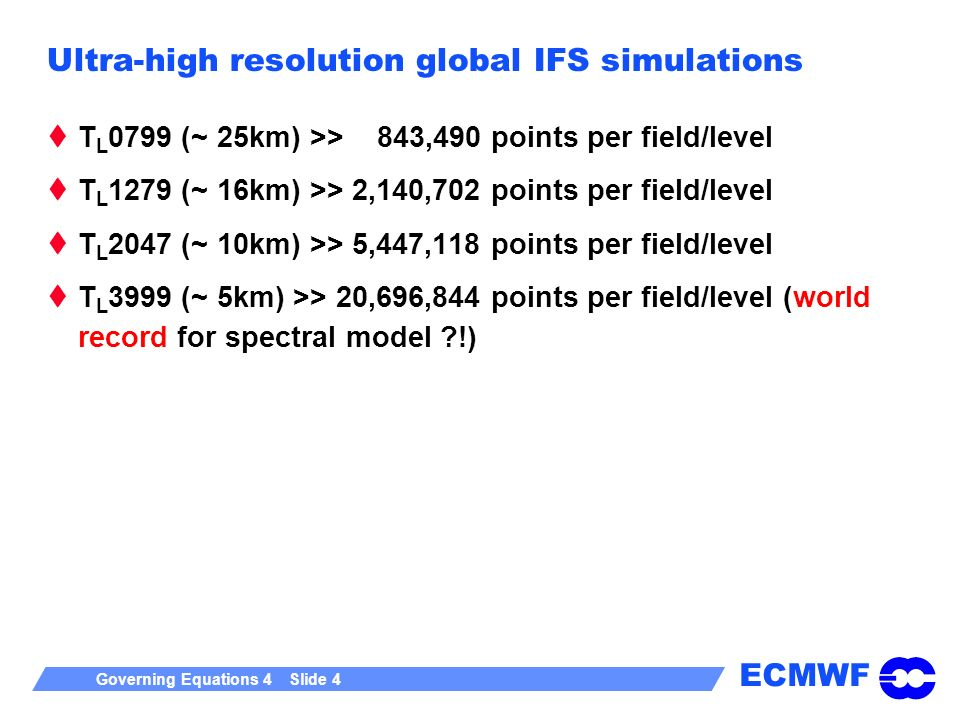 Ultra-high resolution global IFS simulations