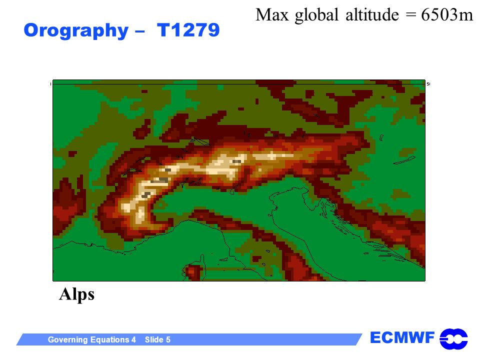 Max global altitude = 6503m Orography – T1279 Alps