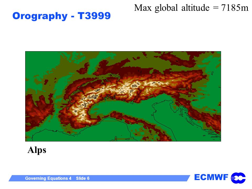 Max global altitude = 7185m Orography - T3999 Alps