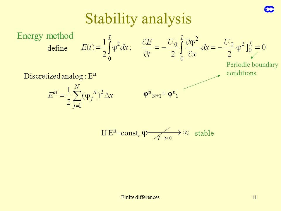 Stability analysis Energy method define Discretized analog : En