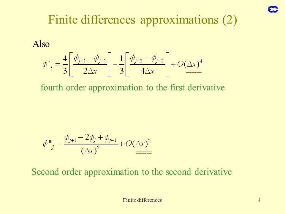Finite differences approximations (2)