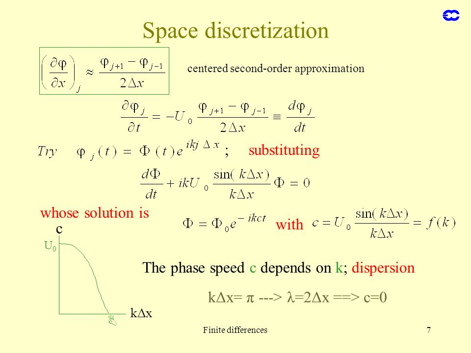 Space discretization ; substituting whose solution is with c