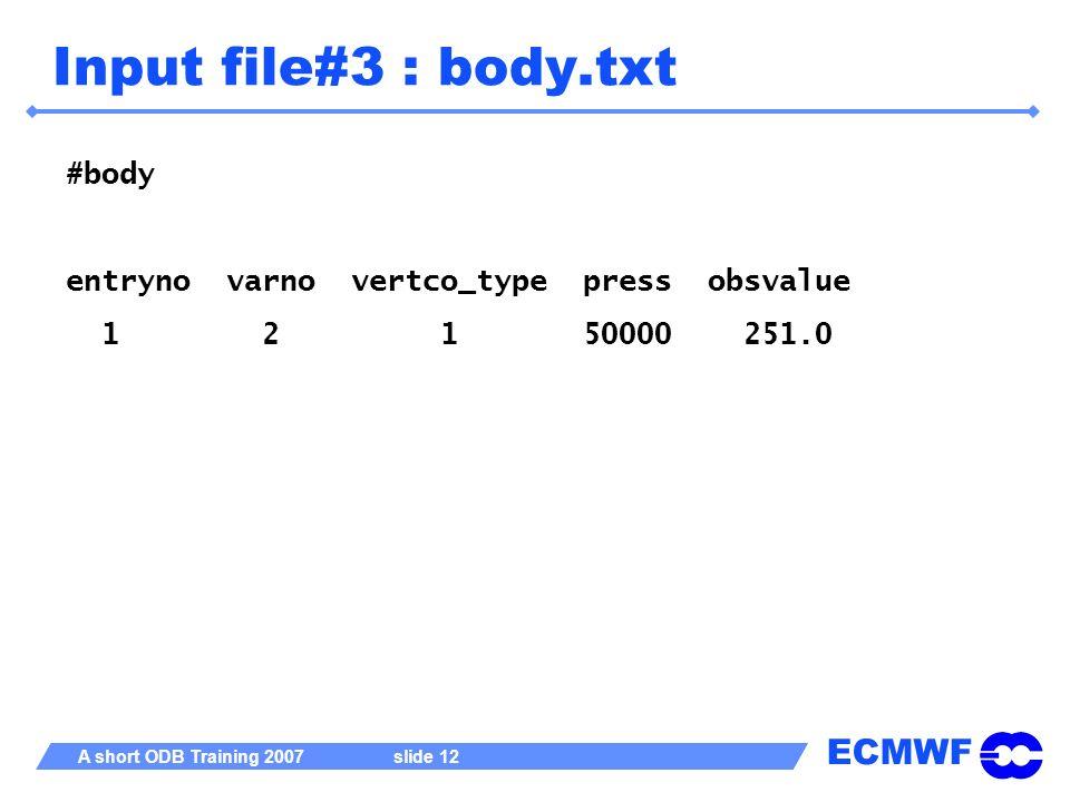 Input file#3 : body.txt #body entryno varno vertco_type press obsvalue