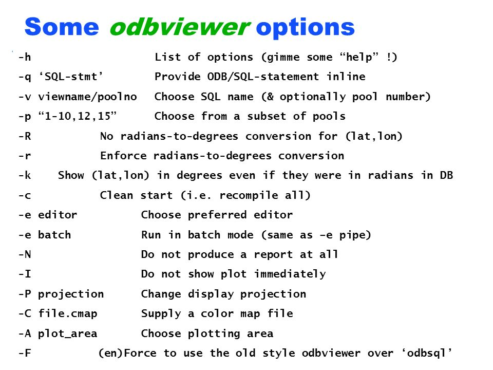 Some odbviewer options