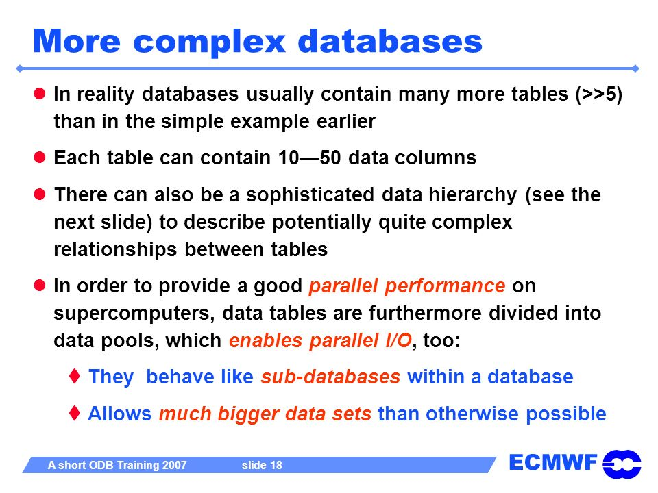 More complex databases